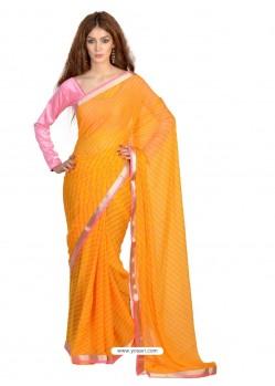 Auspicious Yellow Faux Chiffon Casual Saree
