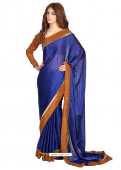 Astounding Chiffon Satin Blue Casual Saree