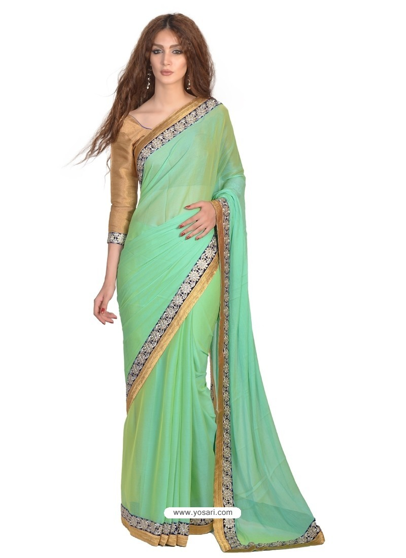 Observable Faux Chiffon Green Lace Work Casual Saree