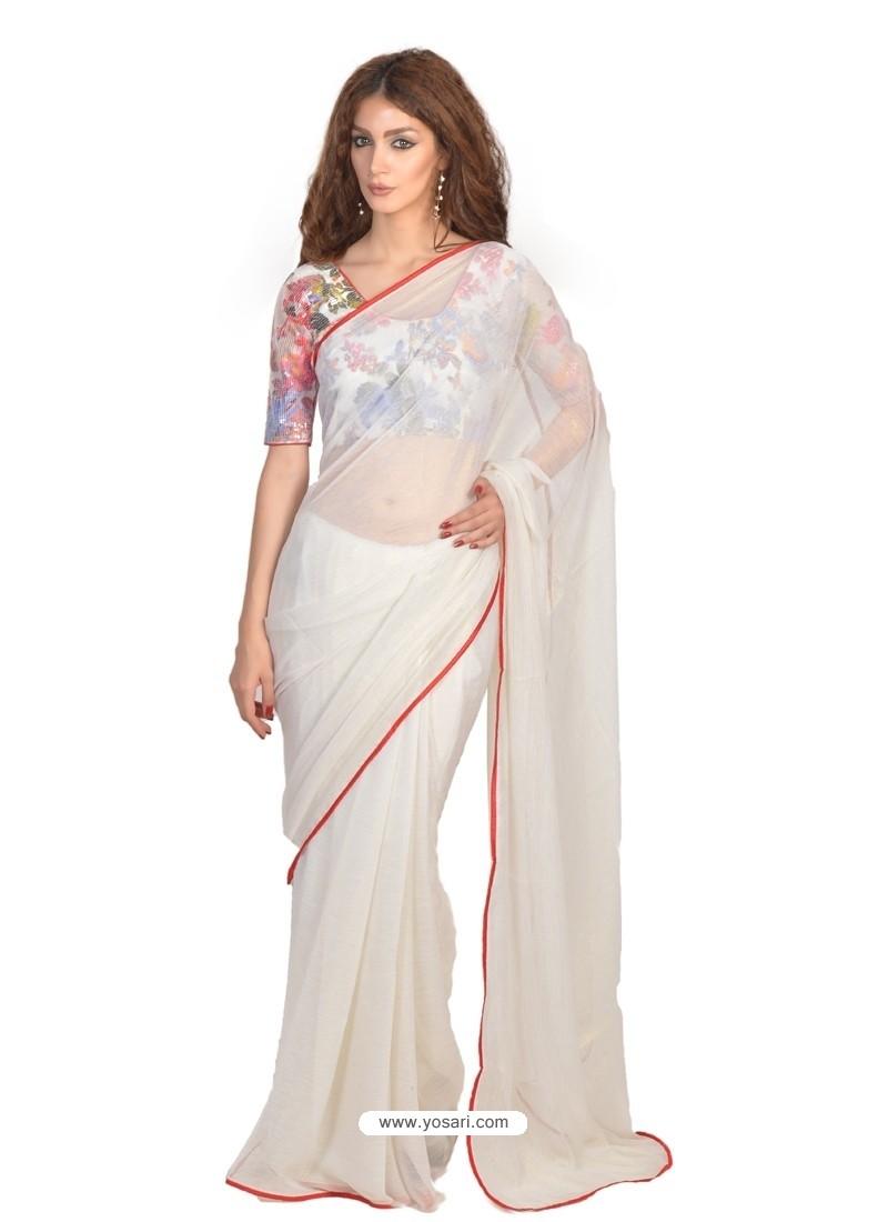 Lavish White Lace Work Casual Saree