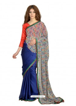 Heavenly Blue Lace Work Casual Saree