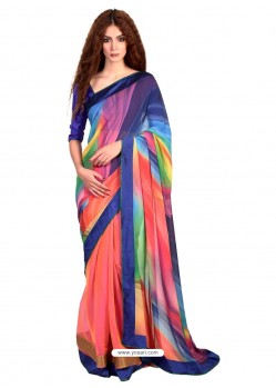 Outstanding Lace Work Multi Colour Casual Saree