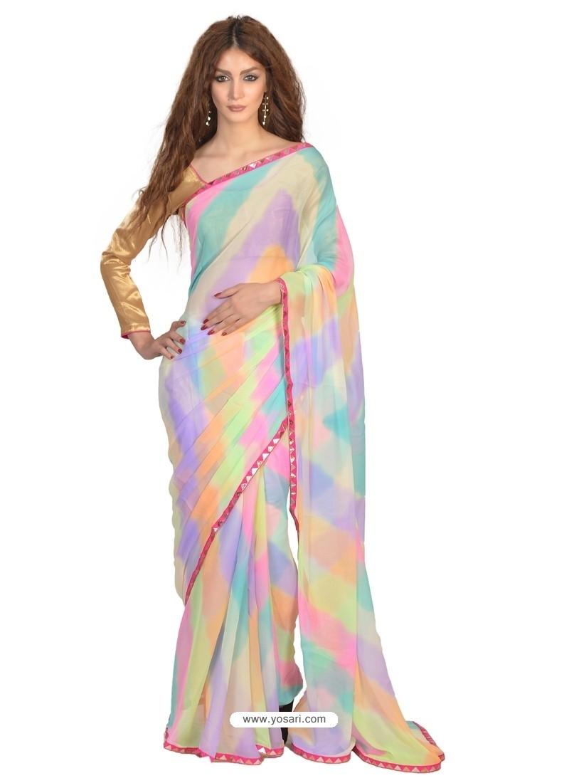 Splendid Multi Colour Lace Work Faux Chiffon Casual Saree