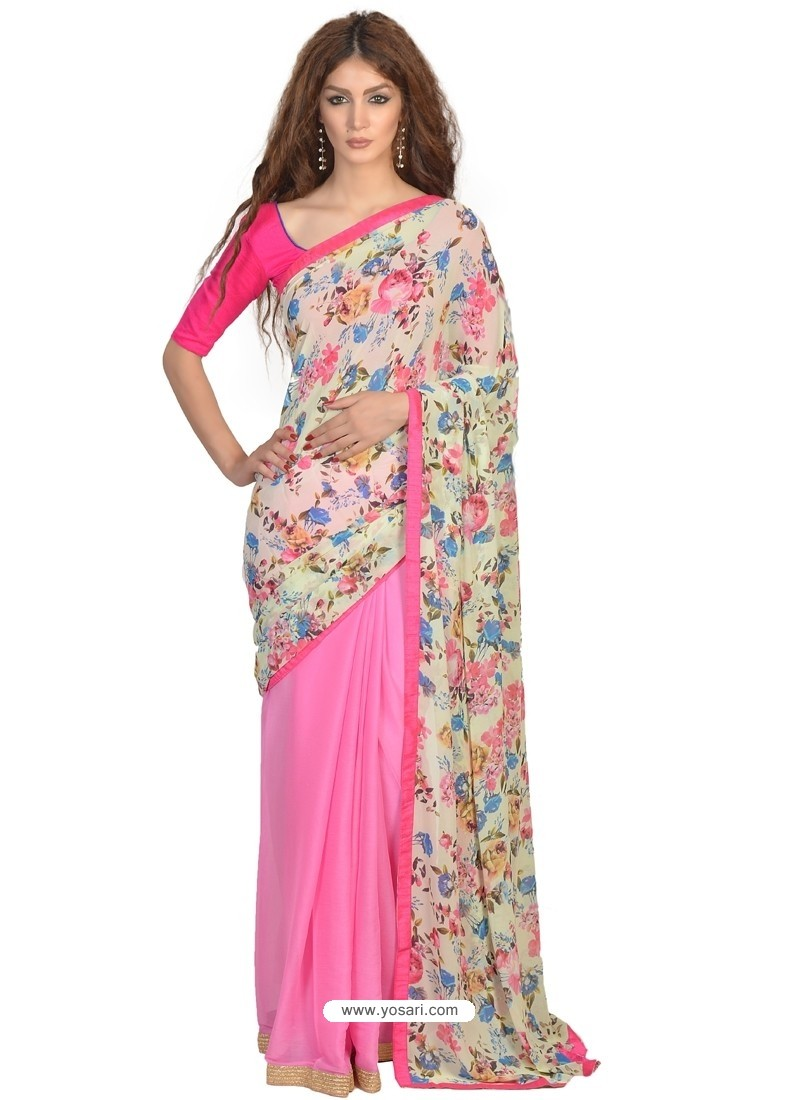 Enchanting Print Work Hot Pink Casual Saree