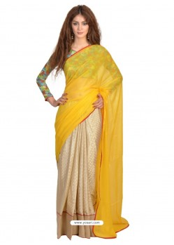 Spectacular Beige And Yellow Lace Work Casual Saree