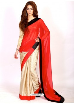 Exceptional Red Faux Chiffon Casual Saree