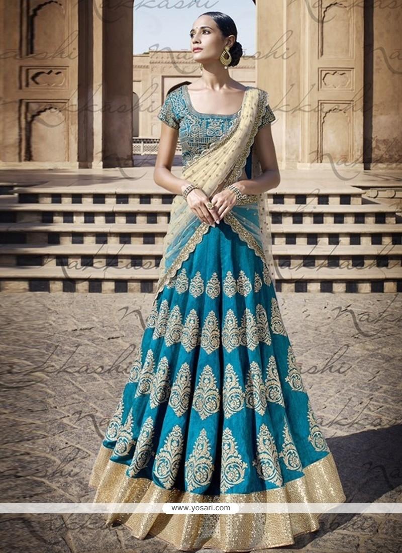 Blue Embroidered Work A Line Lehenga Choli