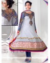 Off White And Blue Georgette Anarkali Salwar Kameez
