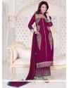 Pretty Lace Work Magenta Georgette Designer Palazzo Salwar Suit
