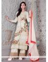 Mystic Zari Work Georgette Cream Designer Palazzo Salwar Suit