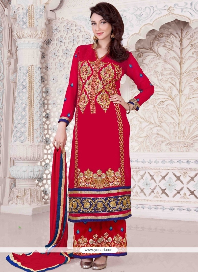 Flamboyant Lace Work Red Georgette Designer Palazzo Suit