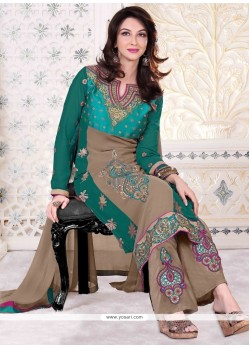 Gleaming Georgette Green Designer Palazzo Suit