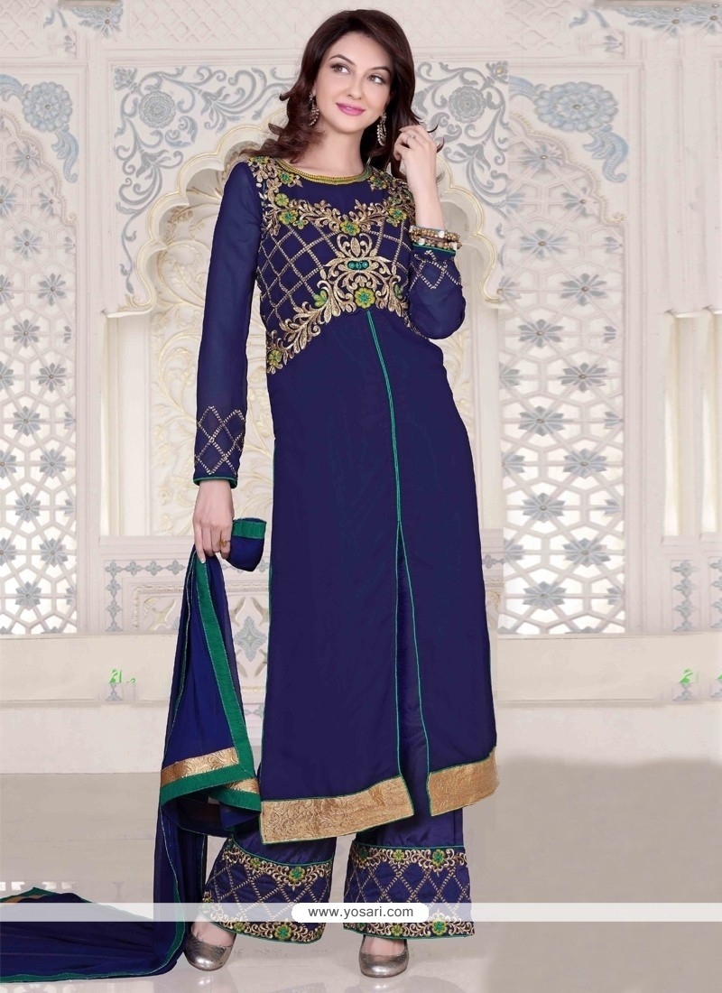 Simplistic Georgette Blue Embroidered Work Designer Palazzo Salwar Suit