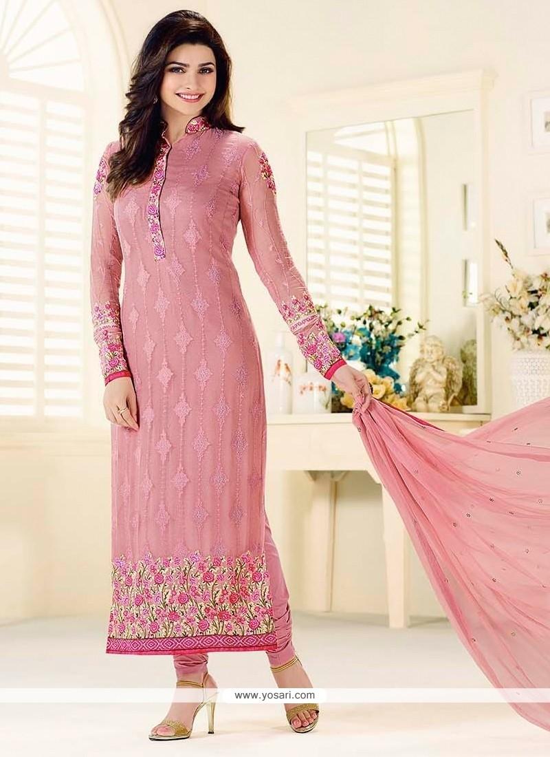 Prachi Desai Georgette Pink Resham Work Churidar Designer Suit