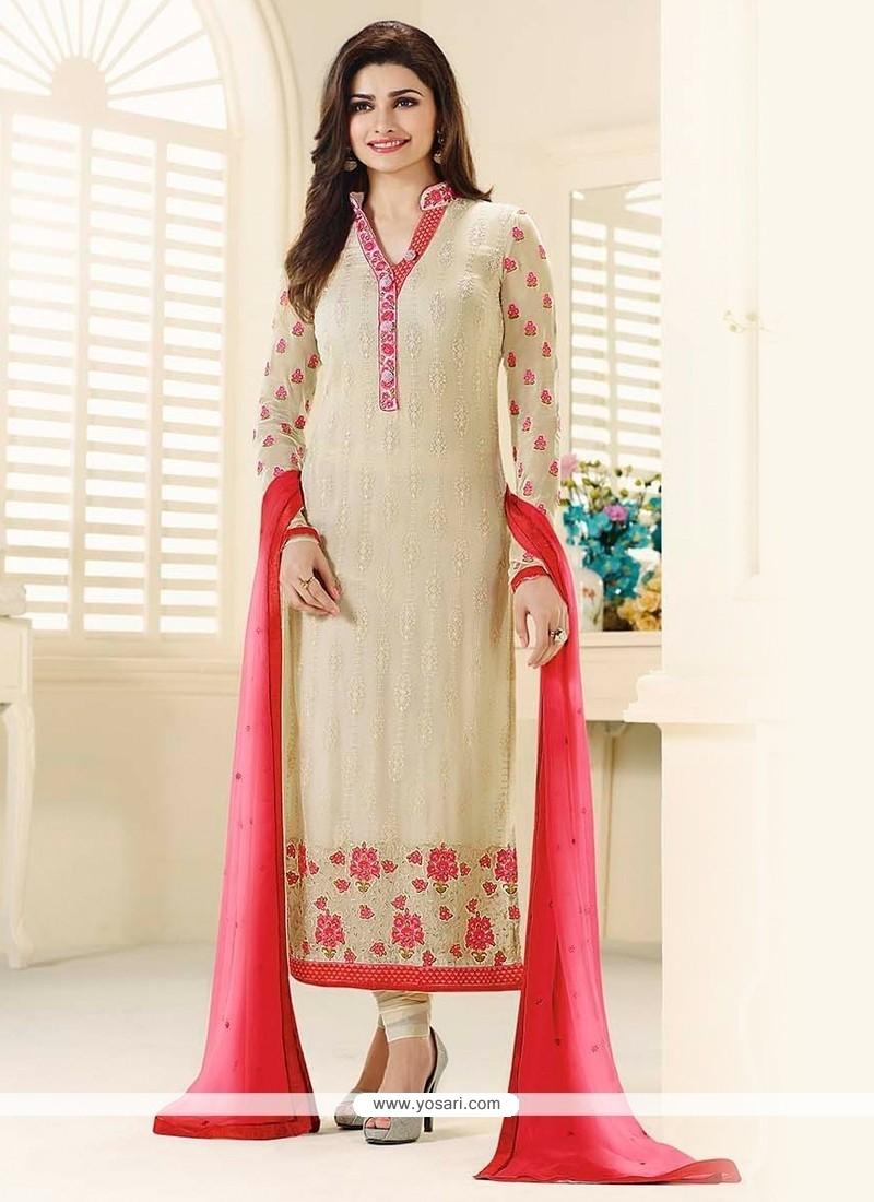 Prachi Desai Cream Embroidered Work Churidar Designer Suit