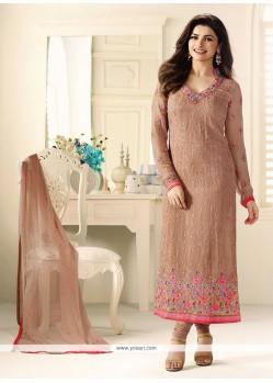 Prachi Desai Beige Embroidered Work Churidar Designer Suit