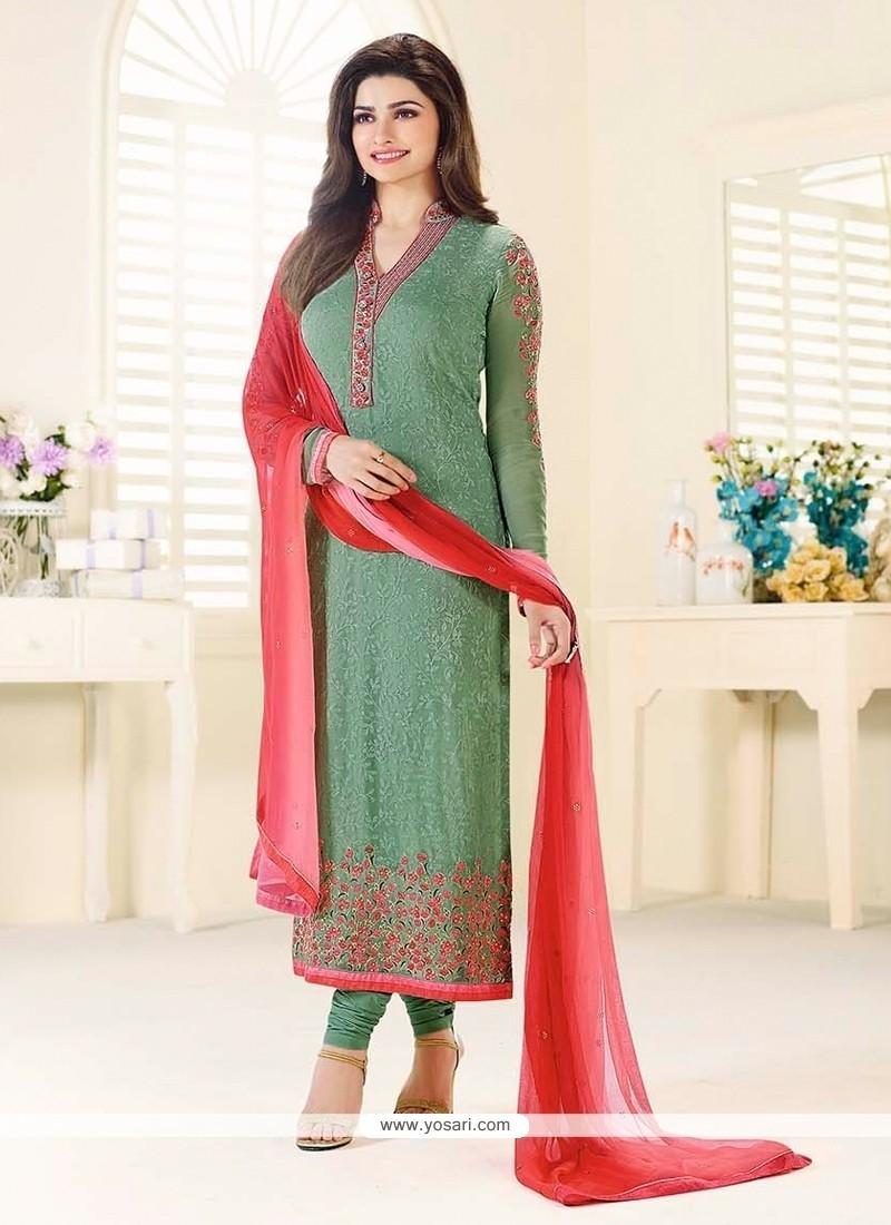 Prachi Desai Georgette Green Churidar Designer Suit