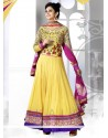 Luxurious Yellow Georgette Anarkali Salwar Kameez