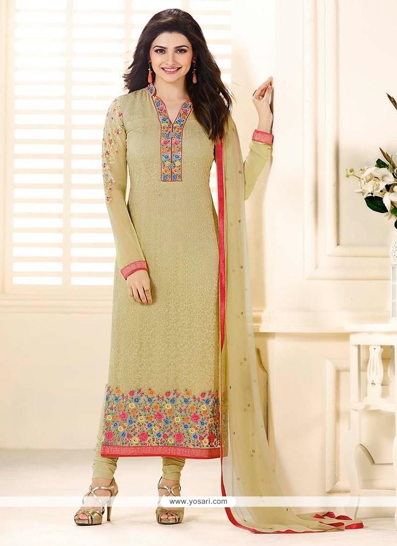 Prachi Desai Resham Work Cream Churidar Designer Suit