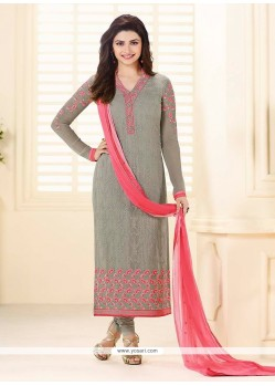 Prachi Desai Georgette Grey Resham Work Churidar Designer Suit