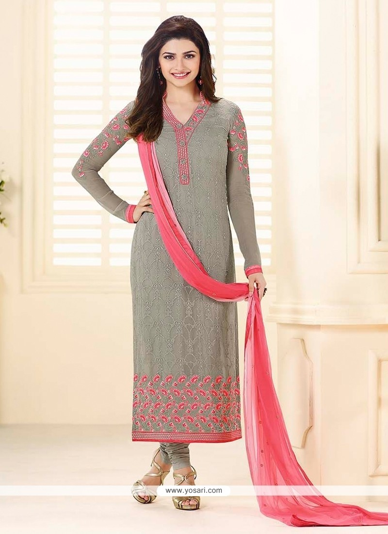 5ebf874ddc Shop online Prachi Desai Georgette Grey Resham Work Churidar ...