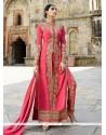 Entrancing Hot Pink Lace Work Georgette Designer Salwar Suit