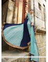 Perfect Blue Resham Work Designer Salwar Suit