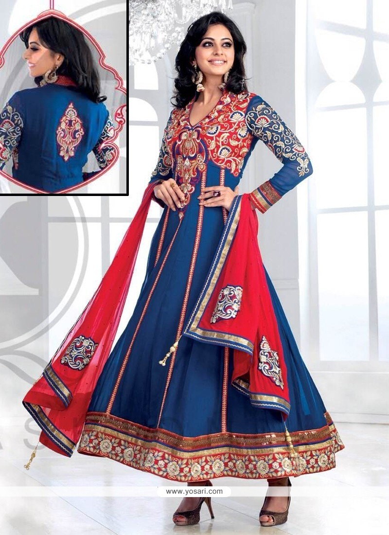 Blue And Red Georgette Designer Anarkali Suit