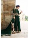 Incredible Georgette Green Lace Work Designer Salwar Suit