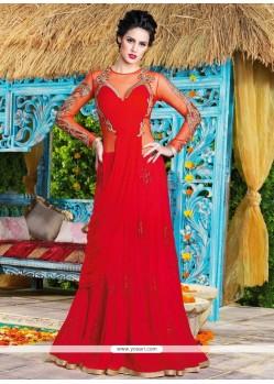 Noble Georgette Red Embroidered Work Floor Length Anarkali Suit