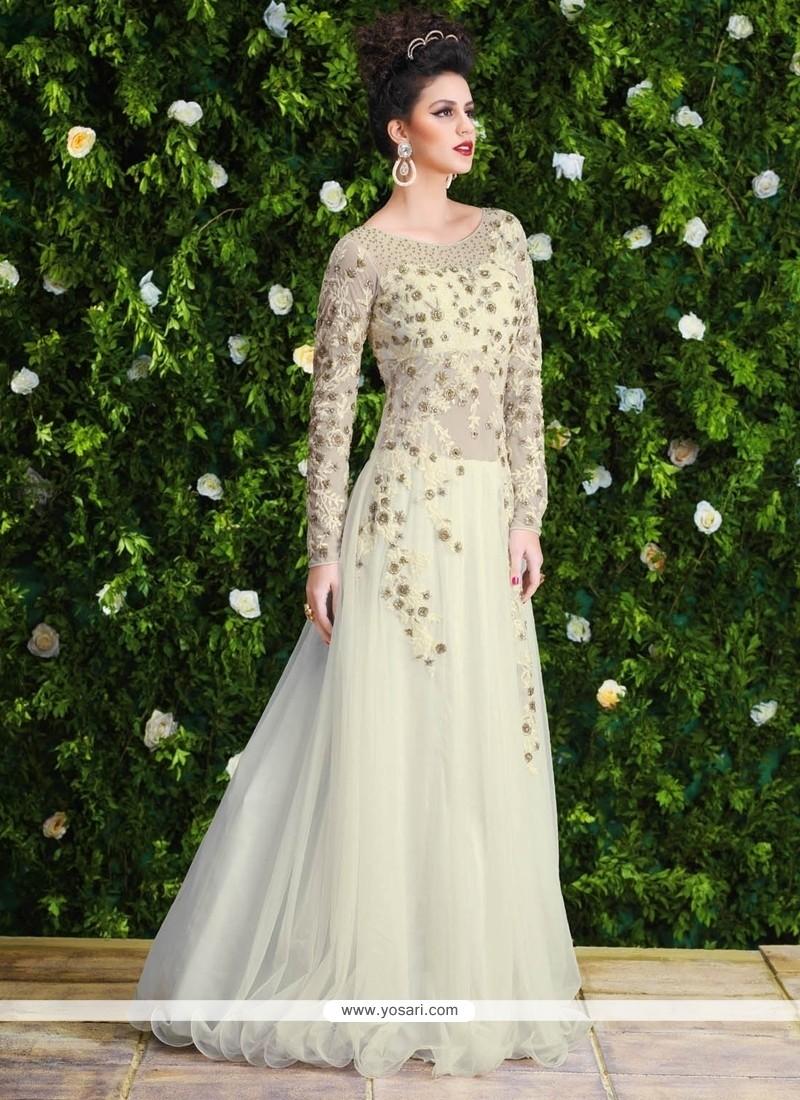 Glorious White Net Floor Length Anarkali Salwar Suit