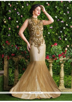 Entrancing Zari Work Beige Net Designer Salwar Kameez