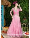 Mystic Pink Resham Work Net Floor Length Anarkali Suit