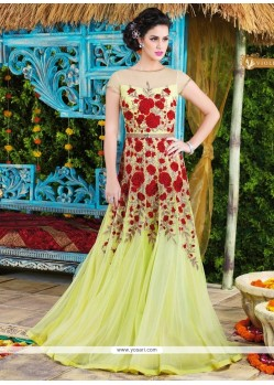 Dashing Net Yellow Floor Length Anarkali Salwar Suit