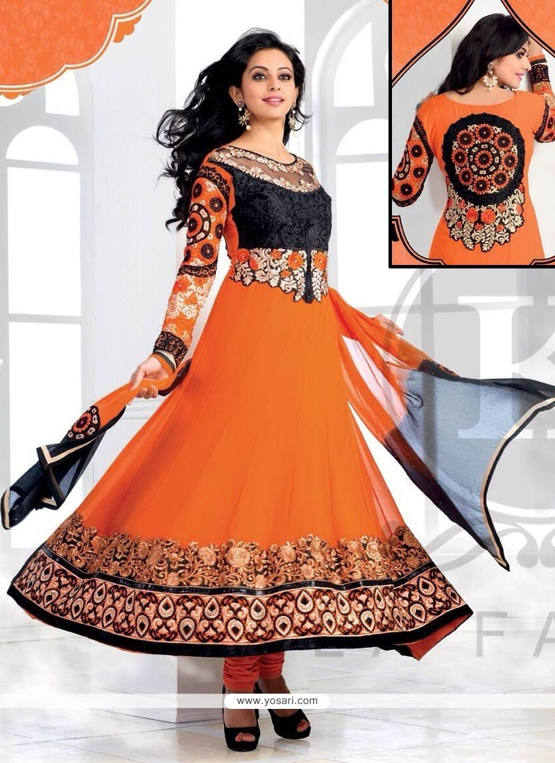 Imperial Orange Georgette Anarkali Salwar Suit