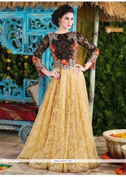 Lavish Cream Net Floor Length Anarkali Suit