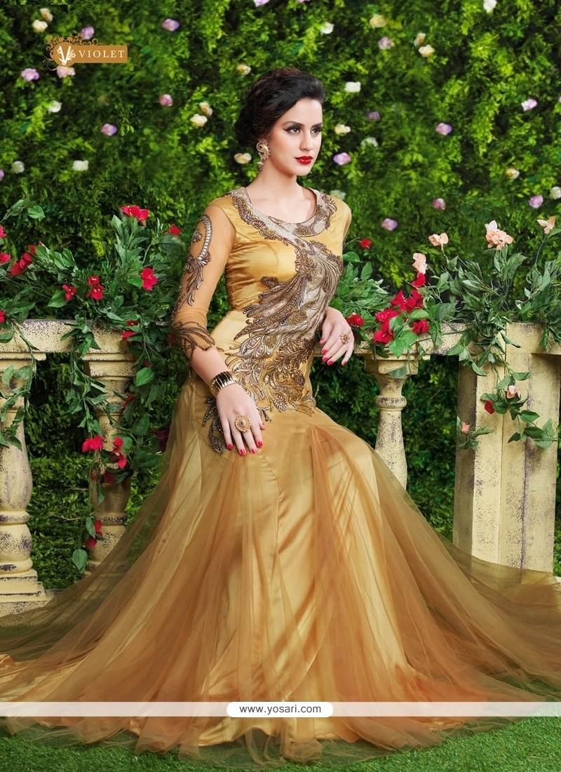 Vehemently Resham Work Net Floor Length Anarkali Suit