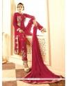 Vivacious Magenta Embroidered Work Georgette Designer Salwar Suit