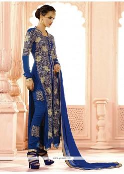 Thrilling Blue Designer Salwar Suit