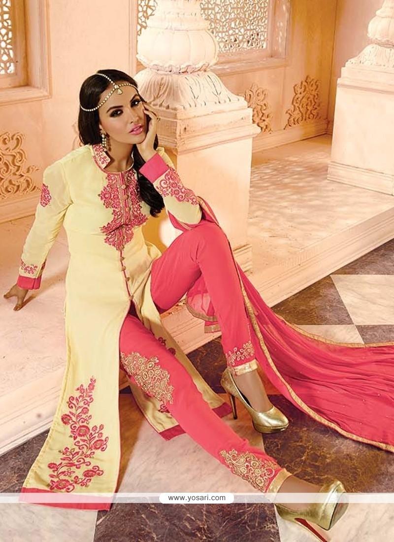 Savory Georgette Cream Embroidered Work Designer Salwar Kameez