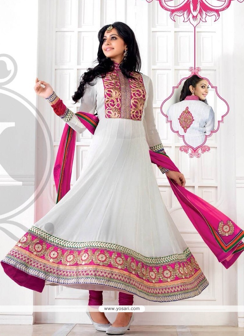 Off White And Pink Embroidery Anarkali Suit