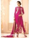 Refreshing Georgette Hot Pink Designer Salwar Suit