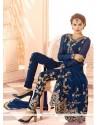 Glorious Georgette Blue Resham Work Designer Salwar Suit