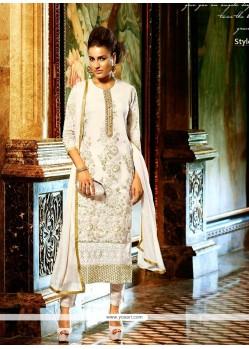 Gorgonize Georgette White Zari Work Churidar Salwar Kameez