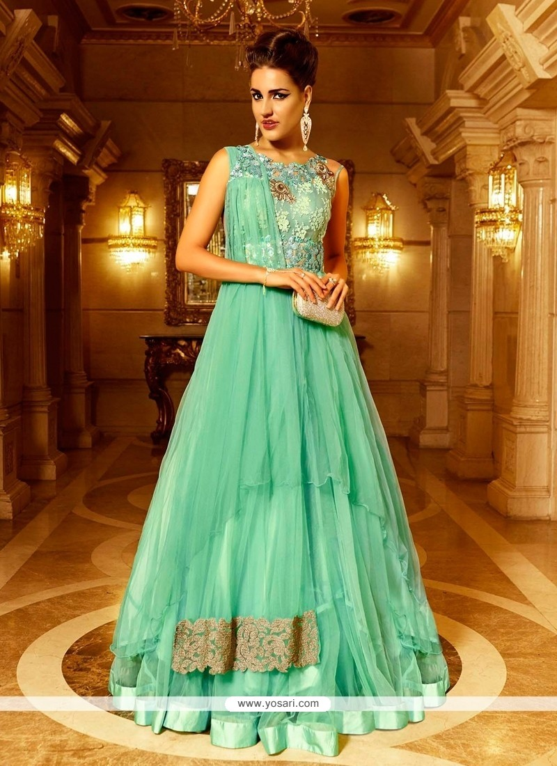 Dainty Sea Green Resham Work Floor Length Anarkali Salwar Suit