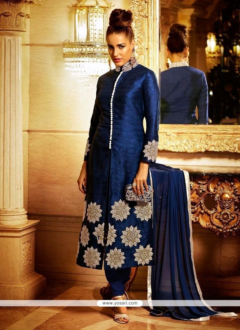 Imposing Bhagalpuri Silk Navy Blue Resham Work Salwar Suit