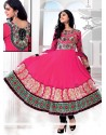 Hot Pink Georgette Wedding Anarkali Suit