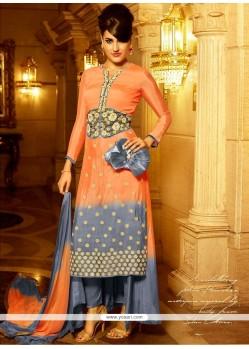 Charming Resham Work Grey And Orange Georgette Designer Salwar Suit