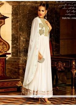 Savory Georgette White Resham Work Anarkali Salwar Suit