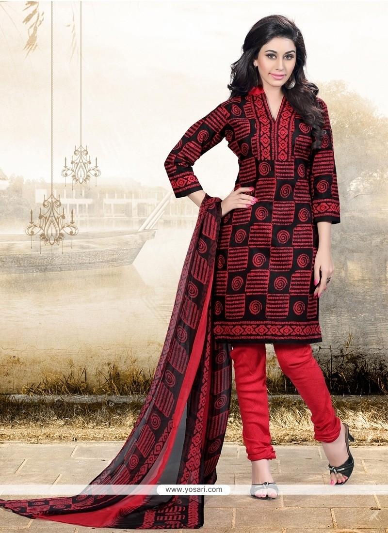 Orphic Cotton Red Churidar Designer Suit